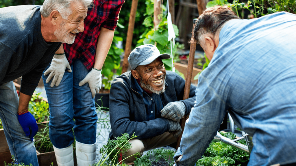 Four people smiling and gardening