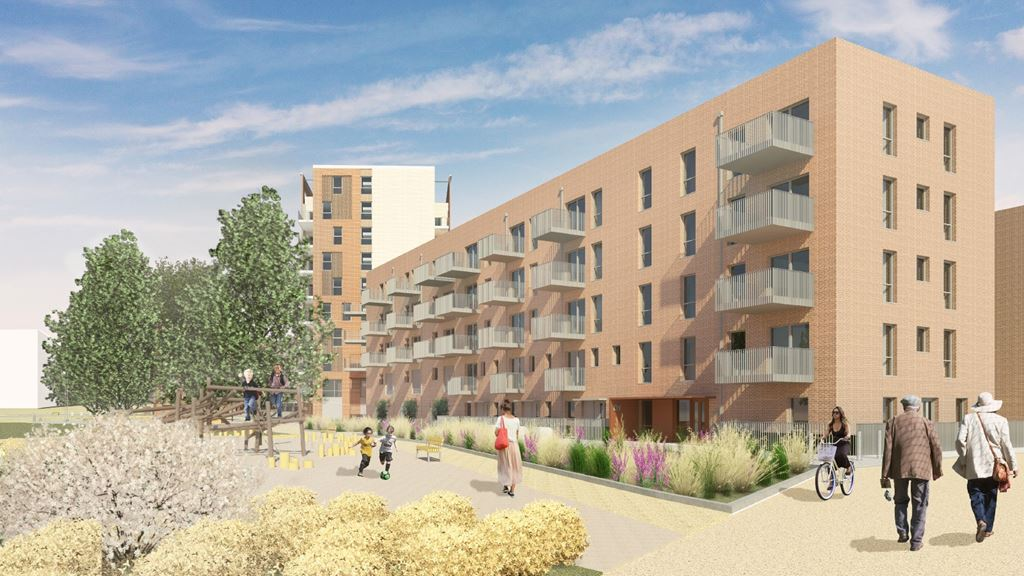 CGI render of exterior of one five storey block of flats in the foreground and one six storey in the background. Eastfield Square, Mitcham.